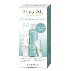 A-Derma Phys-AC Čistiaci penivý gél 200 ml + Phys-AC Global 40ml + Phys-AC Hydra 5ml